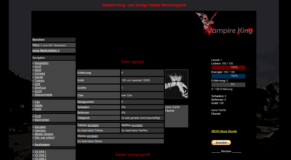 Vampir Browsergame Screenshot